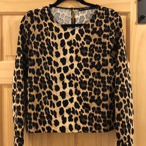 Zara Leopard Print Blouse with semi-open back